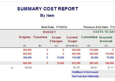 Summary Cost Report